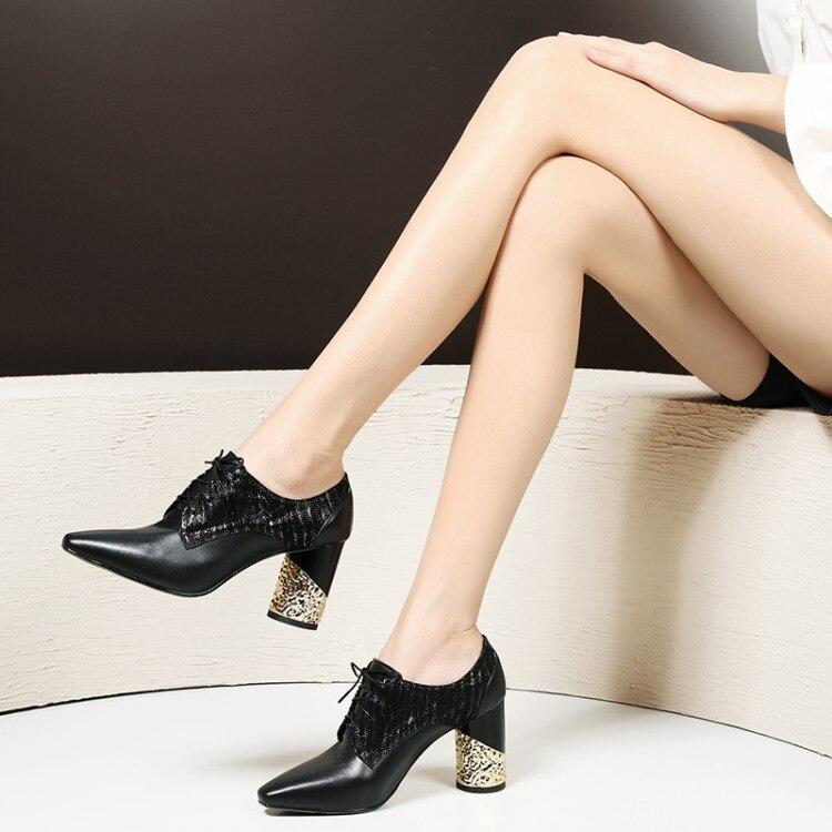 Kleid Weibliche Kuh Schuhe Mode Up Herbst Spitz Lace Frühling High Heels Leder Und Flach Pumpen Frauen Schwarzes Zorssar qxFHt4a8nn