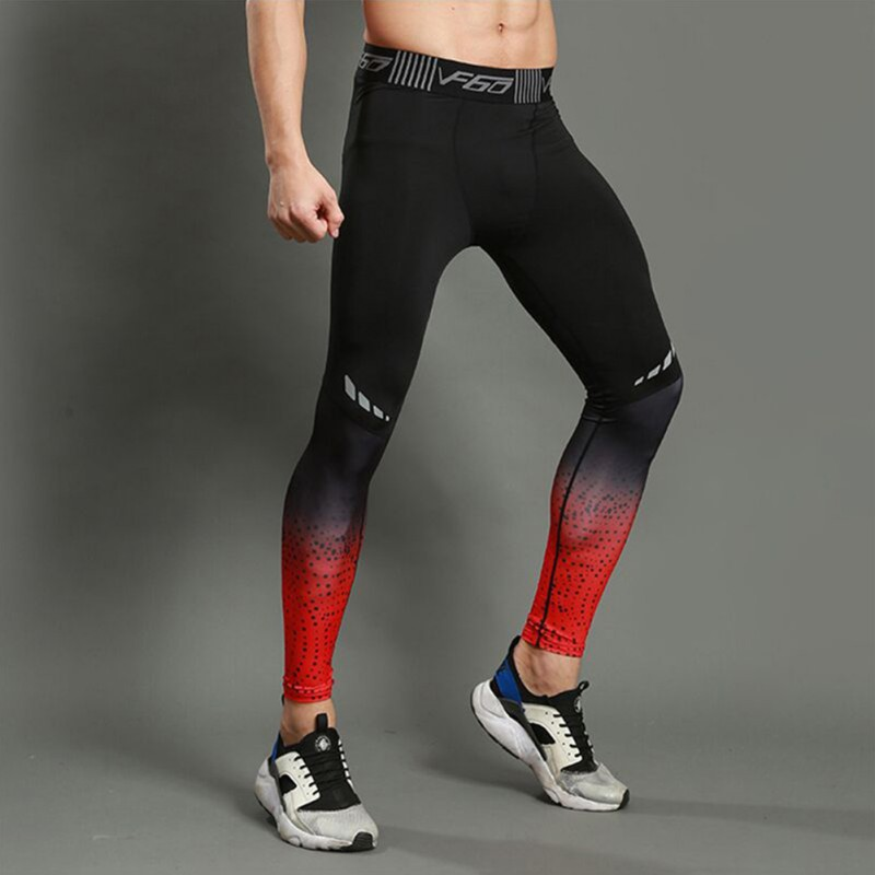 Sports Pants Men Polyester Elastic Quick Dry Breathable Stretch Slimming Compression Tights Trousers Fitness Men's Sportswear