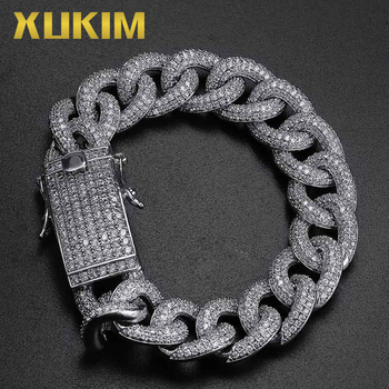 Xukim Jewelry Gold Silver Color Miami Cuban Link Chains Hip Hop Jewelry Iced Out Bracelet for Men Women Punk Rapper Party Gift