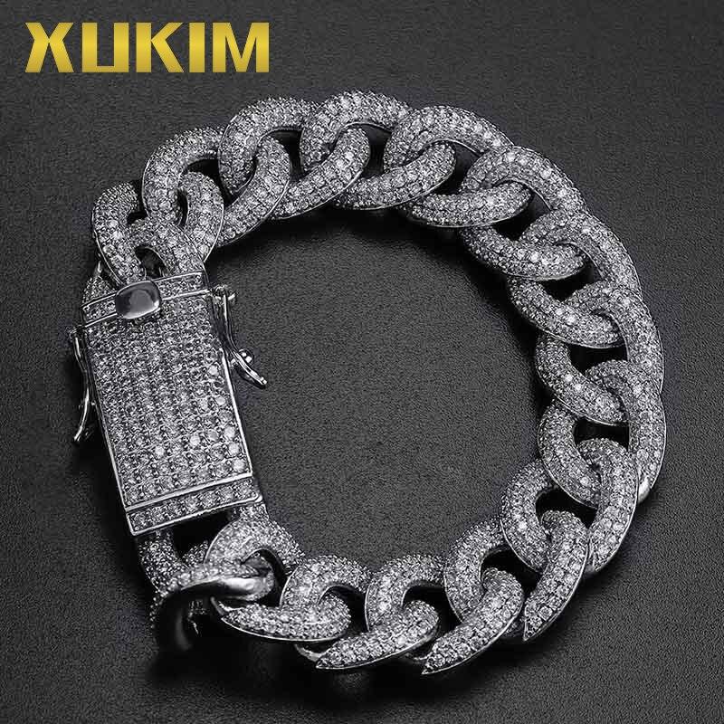 Xukim bijoux or argent couleur Miami cubain lien chaînes Hip Hop bijoux glacé Bracelet pour hommes femmes Punk rappeur cadeau de fête