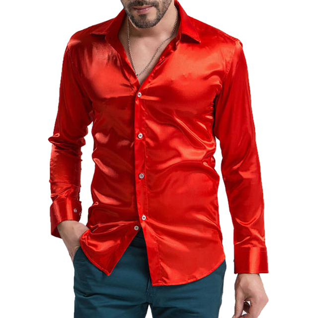 leisure Men s Clothing High-grade Emulation Silk Long Sleeve Shirts Men s  Casual Shirt Shiny Satin Bright red c80864b9c5e