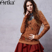 Artka Women's Spring New Retro Slim Fit All-Match Cable Knit Wide Scoop Neck Soft Skin-Friendly Sweater  YB14052C