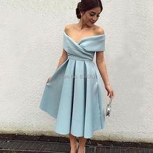Saudi-arabien Short Prom Kleider 2017 Off Schulter Eine linie geraffte Satin Importierte Kleid mit Ärmeln Schönes Abendkleid neue