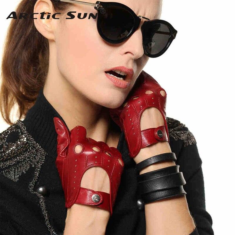 Venta caliente nuevos guantes de cuero para mujer Nappa piel de oveja muñeca sólida transpirable Real moda auténtica guante de conducción envío gratis EL041N