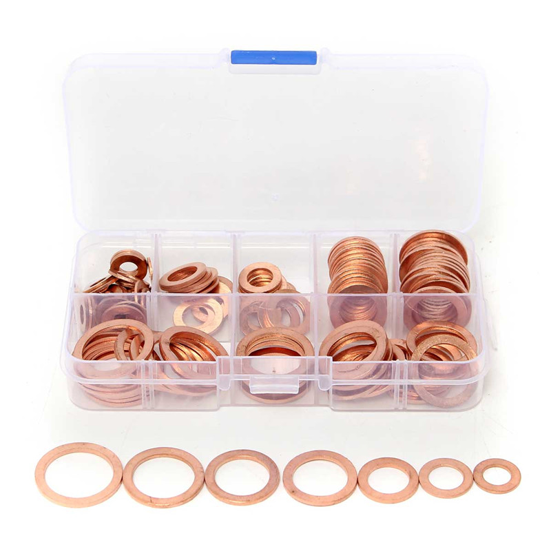 Different Quality 120PCs Solid Copper Washers Sump Plug Assorted Washer Set Plastic Box 8 Size Watch