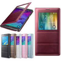 YKSPACE Classic View Window Flip PU Leather Case Cover for Samsung Galaxy Note 4 Cases i9500 High quality