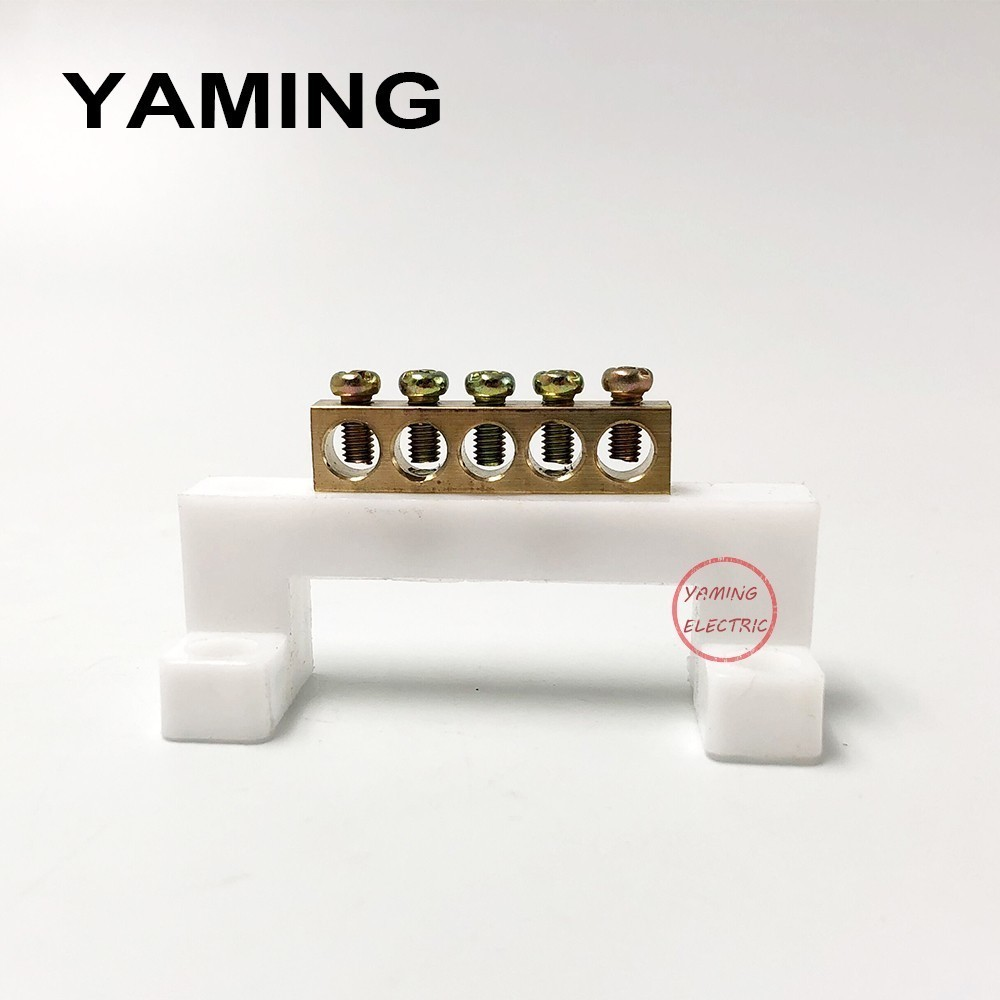 10pcs 5P Zero Line Grounding Strip Terminal Block Copper White Bridge Design Connector for Distribution cabinet P376 image