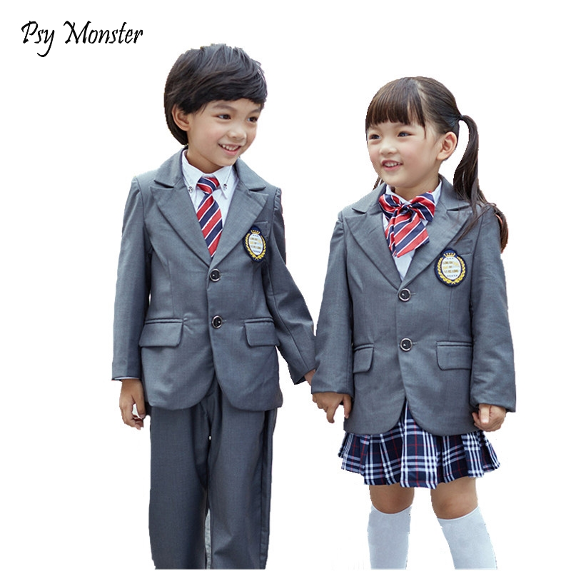 Boys Girls for weddings Kids Prom Formal Suit 4Pcs Jacket + Shirt + Pants/Skirt Kids Party Performance School Uniform Sets A58