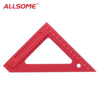 ALLSOME 150mm Aluminium Triangle Ruler l square Straight Ruler For Woodworking Tool HT2323