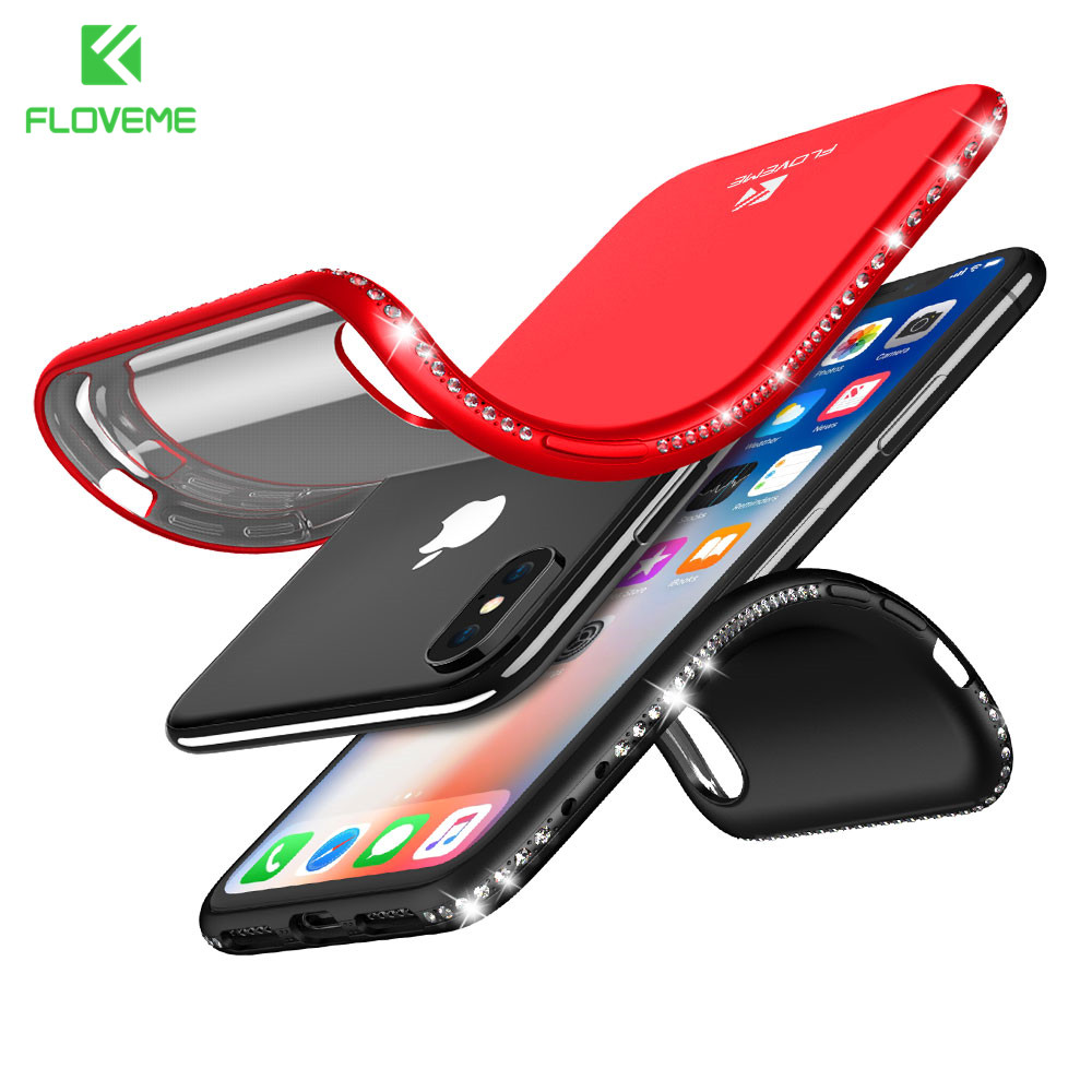 Floveme со стразами Мягкие силиконовые Чехол для <font><b>iPhone</b></font> 7 8 6S 6 Plus Роскошные гладкие сенсорным чехол для <font><b>Iphone</b></font> X 10 8 7