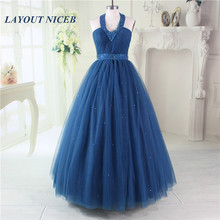 Dark Blue Prom Dress 2019 Evening Gowns Halter Party Beading vestidos de fiesta noche largos elegantes gala