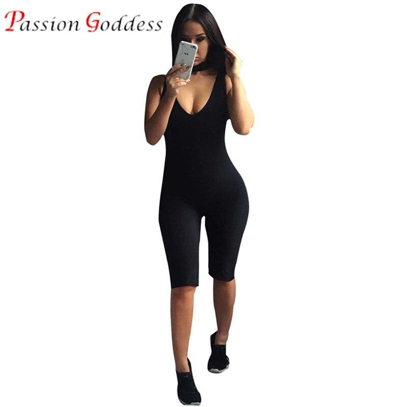 2016 Black Bodycon Bodysuits Sexy Halter Jumpsuit Knee Length