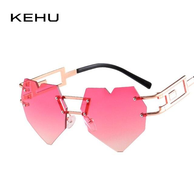 acb2387792 KEHU Brand Design New Fashion Rimless Heart-shaped Sunglasses Women Rainbow  Gradient Rimless Heart-shaped Women Glasses K9277