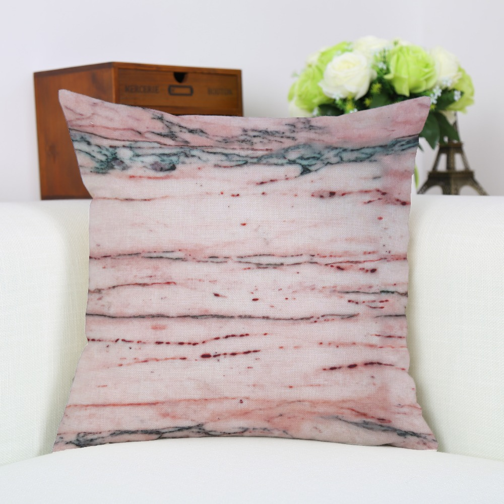 Marble Linen Sofa Pillow Case Headrest Backrest Cushion Cover Cotton Bed Piaochuang Waist Pillow Decorating Gifts B-034