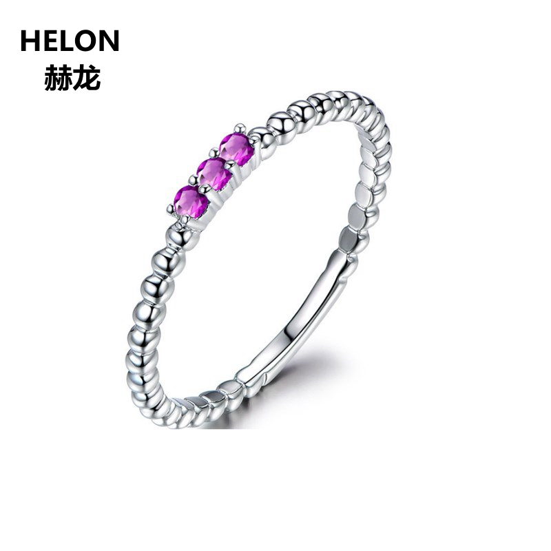 Solid 14k White Gold Women Engagement Wedding Ring Natural Amethyst 2.5mm Three Stone Valentine's Christmas gift Fine Jewelry