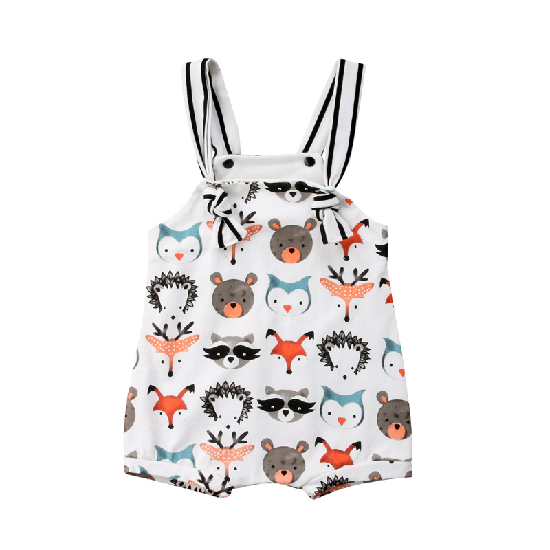 Summer Lovely Pretty Toddler Baby Girls Boys   Romper   0-24M Sleeveless O-Neck Cartoon Animal Print Covered Button   Romper   Jumpsuits