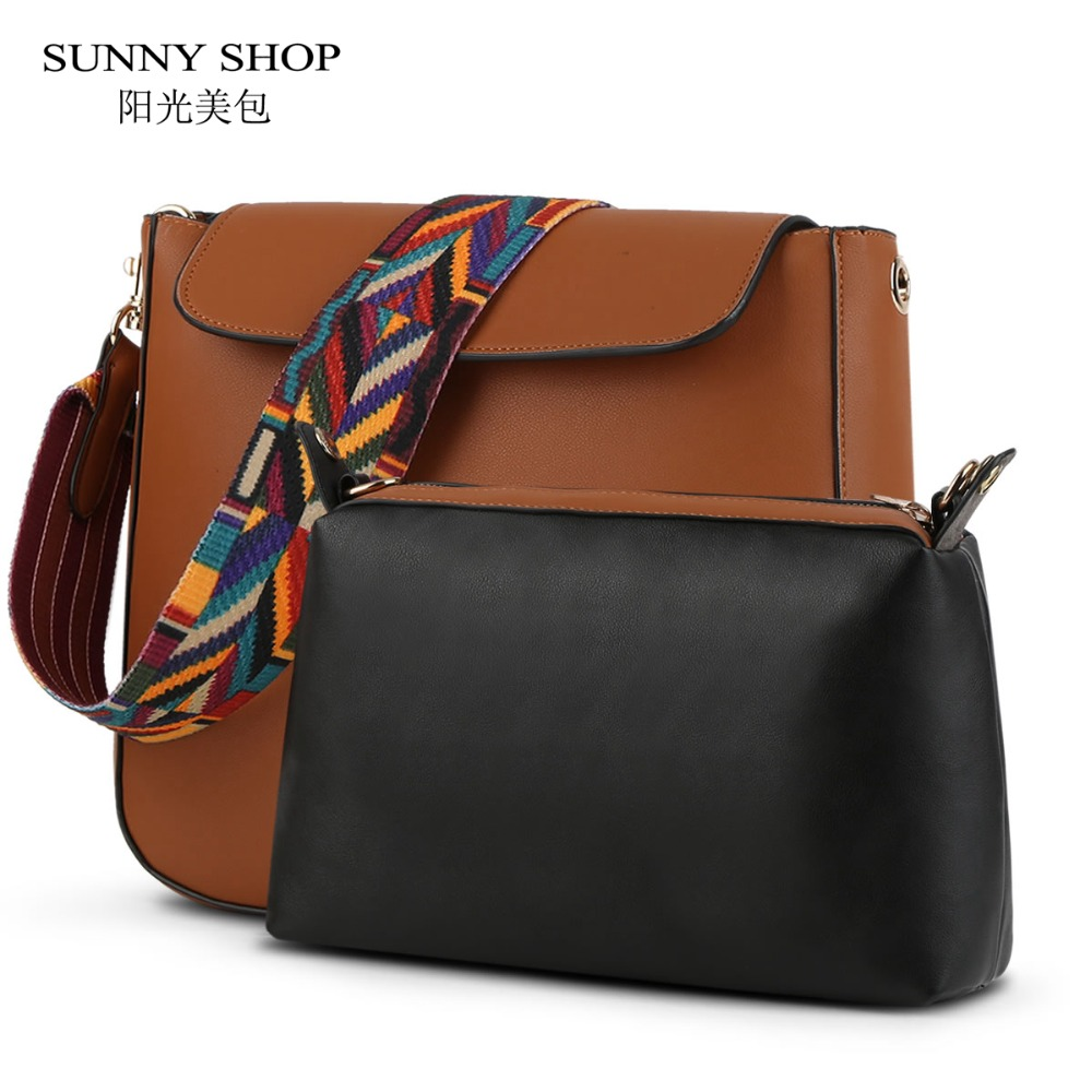 купить SUNNY SHOP 2 Bags/Set New Casual Women Shoulder Bags With One Messenger Bag High Quality Composite Women Bag по цене 1781.53 рублей
