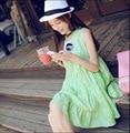 XL Летняя Мода Цветочные Вышивка Пачка Пузырь Maternity Dress Рукавов Жилет Беременных Женщин Платья Свежий Беременность Одежда
