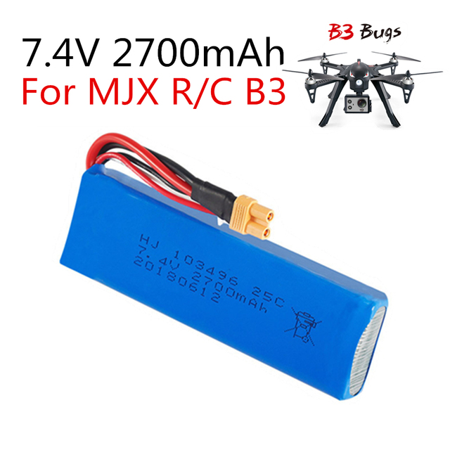 1PC 7.4V 2700mAh Upgrade Battery for mjx B3 Bugs 3 Force1 F100...