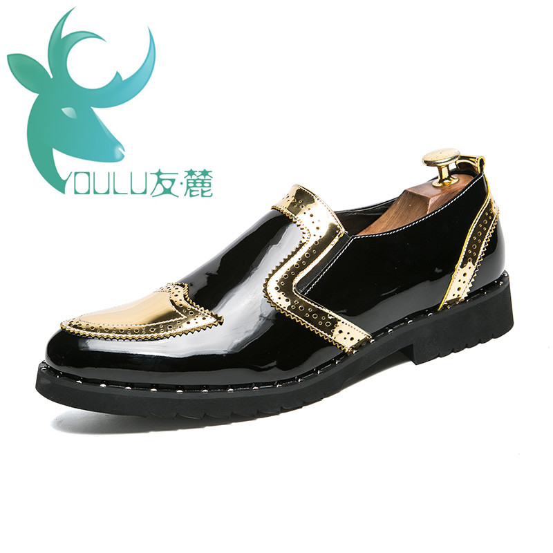 YOULU Men Dress Italian Leather Shoes Slip On Fashion Gold Leather Moccasin Glitter Formal Male Shoes Pointed Toe Shoes For Men branded men s penny loafes casual men s full grain leather emboss crocodile boat shoes slip on breathable moccasin driving shoes