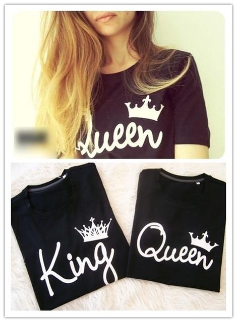 H1034 2016 D été T Shirt Femme O cou Roi Reine Couronne Lettre ... 41cfab01c8c9
