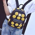 Cloth pattern pu shoulder bag new college wind travel bag fashion cute smiling face small