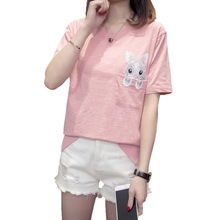 kawaii graphic tees simple cotton women embroidery t-shirt 2019 summer korean style top for fashionable aesthetic female