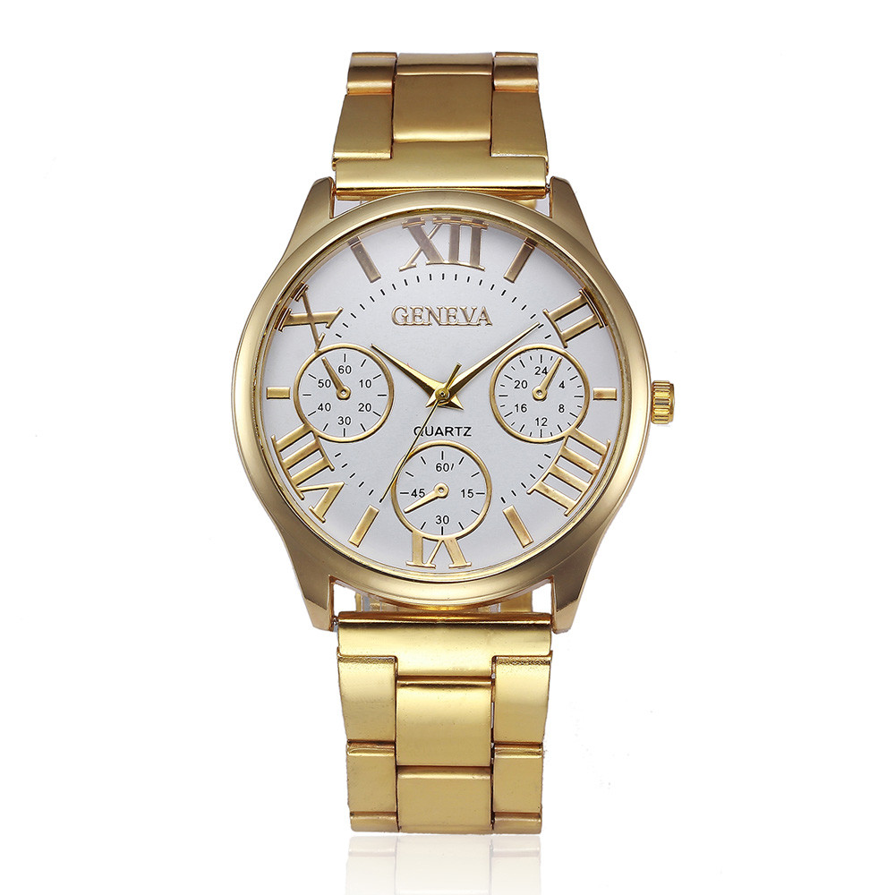 Luxury Golden Watches Mens Top Brand Stainless Steel Analog Quartz Watch Clock Women's Roman Numerals Dial Wrist Watches #Zer 2018 new mce brand quartz watches for women fashion roman numerals simple watch casual stainless steel leather strap clock 002