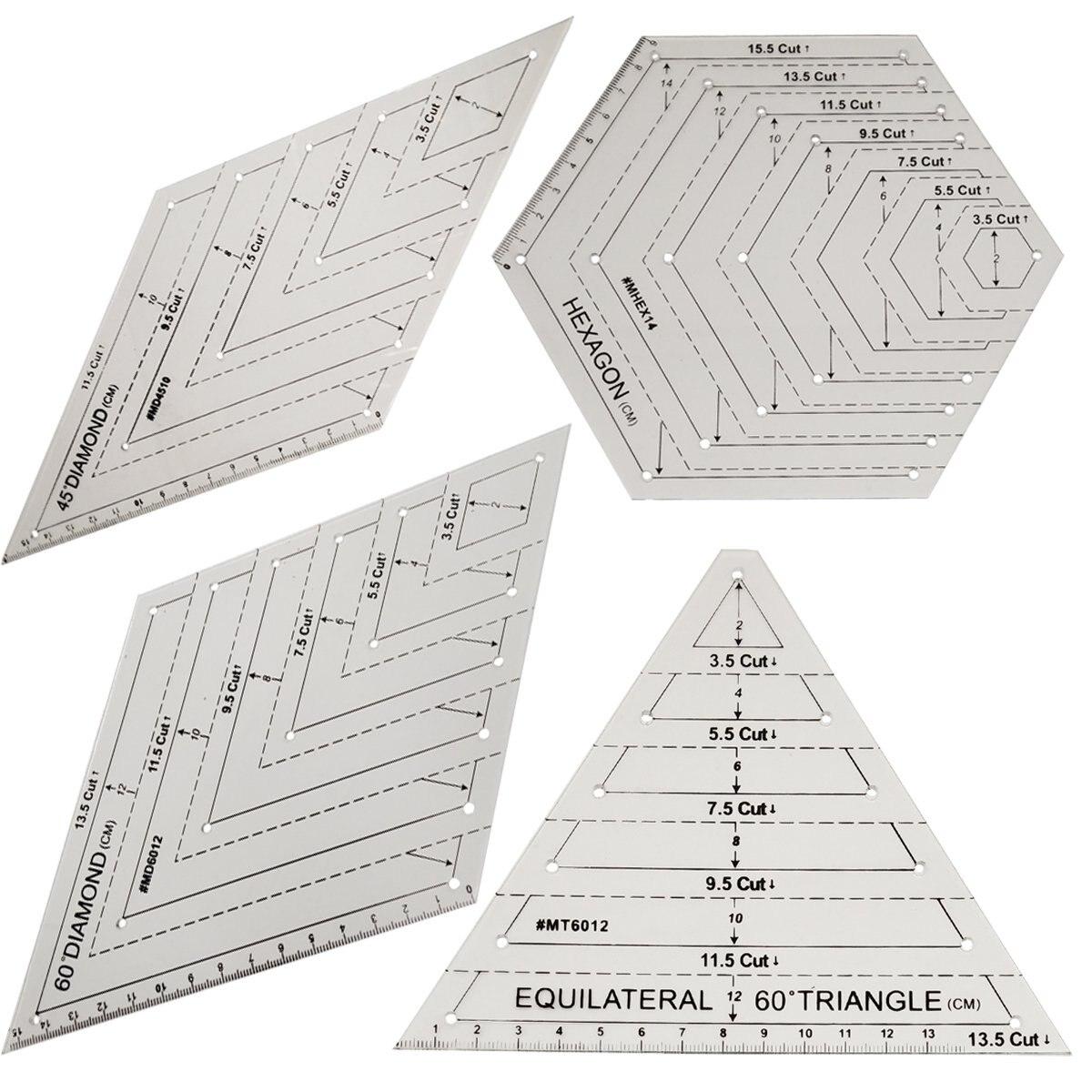 Patchwork gobernante acolchado regla de alta calidad de acrílico transparente de los gobernantes patrón de tela de corte de los gobernantes de costura DIY herramientas de 4 piezas