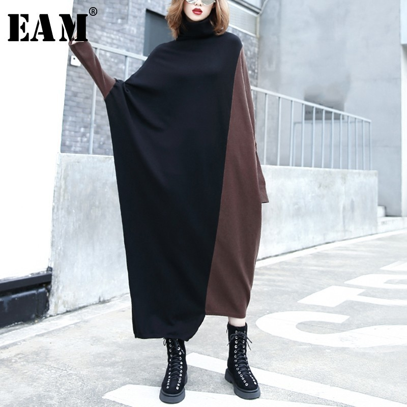 [EAM] 2019 New Spring High Collar Long Batwing Sleeve coffee color Hit Color Hit Color Knitting Sweater Women Fashion JI9