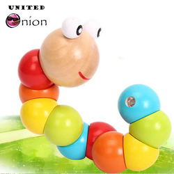 Schöne wurm twist puppe geschenk erkenntnis fun pädagogisches veränderbare form holz playmate kinder bunte raupe baby spielzeug
