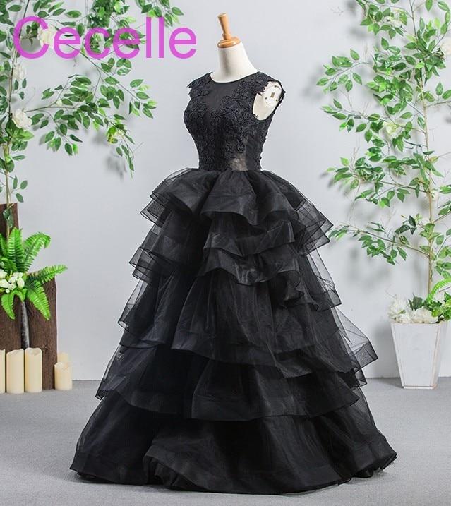 Black Gothic Wedding Dresses 2019 Sleeveless Tiered Sheer