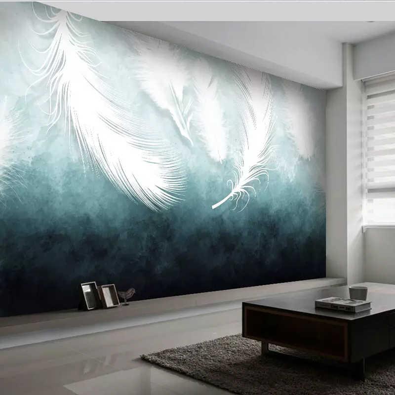 アメリカのモダン白の羽の質感壁壁画アート壁紙リビングルームのテレビソファ寝室の家の装飾 3D 壁布