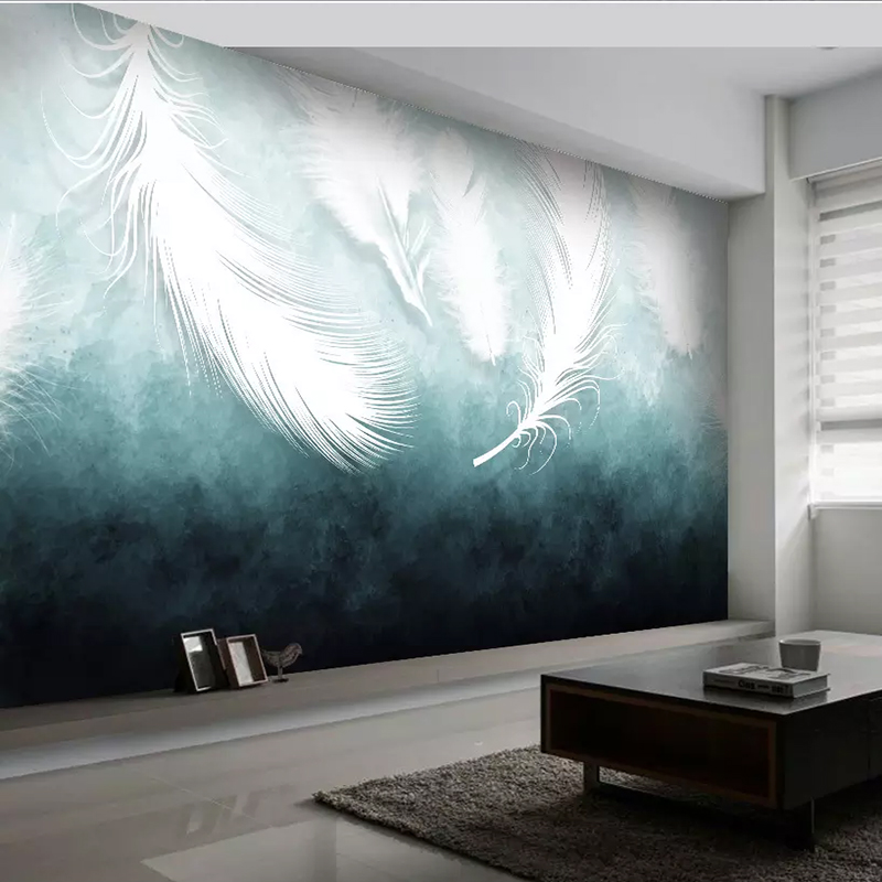American Modern White Feather Texture Wall Covering Mural