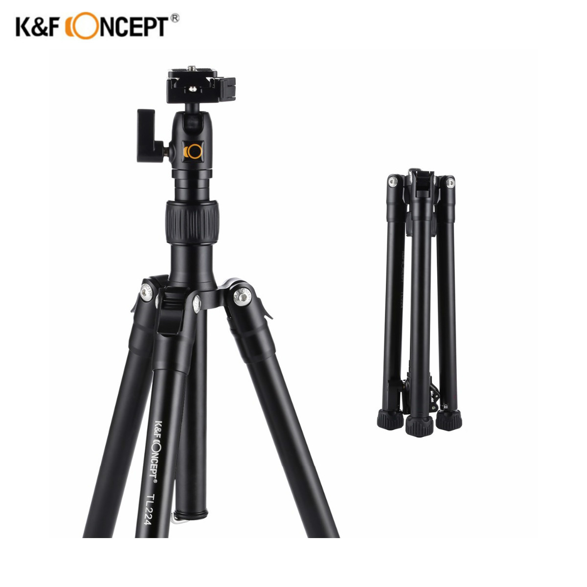 K&F CONCEPT TL224 Professional Lightweight Aluminum Travel Photo Video Tripod Portable Monopod Ball Head Stand For DSLR Camera ashanks professional aluminum camera tripod mini portable monopod with ball head for dslr photography video studio load 10kg