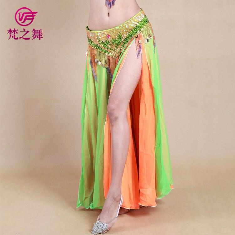 Nouveauté arabe deux couches jupe de danse du ventre en mousseline de soie longue avec fente beauté robe de jupe de danse du ventre colorée pour les femmes