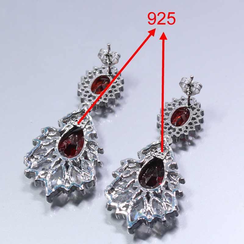 925 Sterling Silver kobiety kostium biżuteria ślubna zestaw Rhodolite pierścionek z austriackim kryształem rozmiar 6/7/8/9/10 bransoletka 18CM bezpłatny prezent