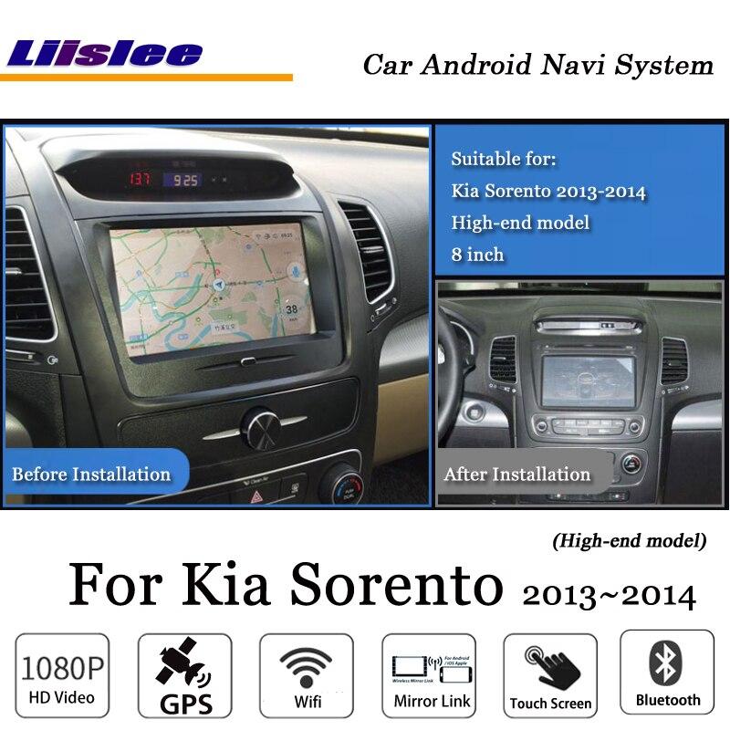 Liislee Android GPS Navi Mapa do Sistema de Navegação Do Carro Para Kia Sorento 2013 ~ 2014 modelo Alto Estéreo Rádio Áudio BT vídeo Multimídia