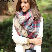 Tassel Scarf Wrap Shawl Plaid Cozy Checked Women Lady Blanket Oversized Tartan Shawls And Scarves Poncho #2919