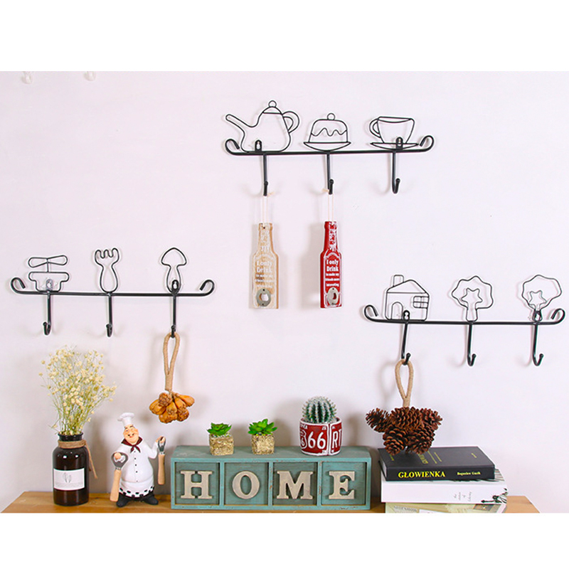 Home & Garden Home Storage & Organization Fashion Style Hot Sale Creative Iron Hook Garden Home Decoration Cartoon Cup Shape Hat Rack Clothes Hanger Black Fashion Iron Ear Clasp 1 Pcs Special Buy