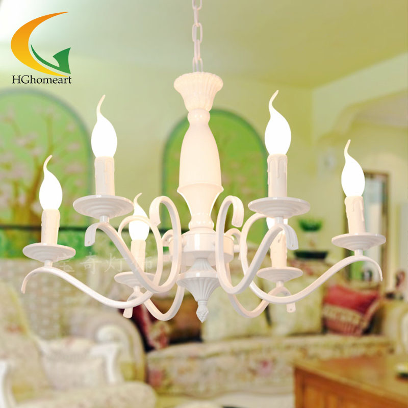 European-style chandeliers bedroom living room lights idyllic Mediterranean wrought iron candle chandelier ceiling E27 free shipping candle lamp wrought iron restaurant bedroom chandeliers rural white candle wrought iron pendant led lights
