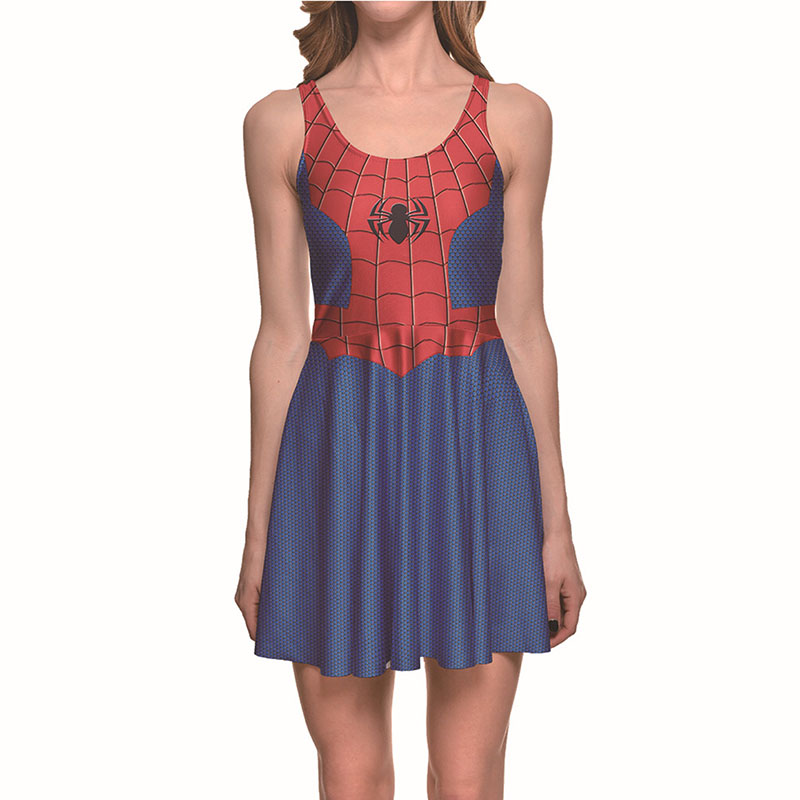 Adult Women Halloween Red Spider Super Hero Costume Ladies Fancy Sleeveless Tank Pleated Dress Cool Disguise For Teen Girls 4XL