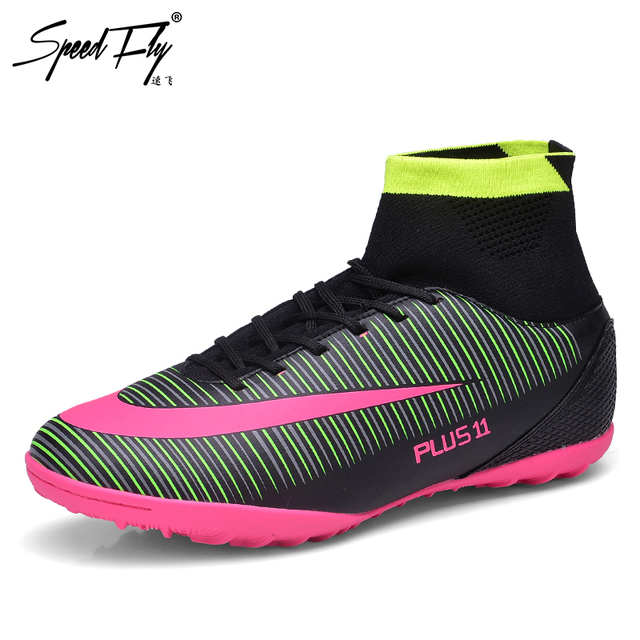 3425855dd Speedfly Football Boots FG Men Superfly Soccer Shoes Kids Professional High  Ankle TF Futsal Sock Cleats Sport Sneakers