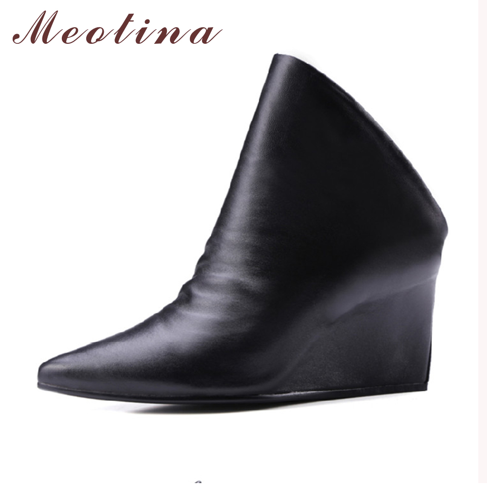 ФОТО Meotina Women Boots Ankle Boots Women Natural Real Leather Luxury Pointed Toe Wedge High Heels Boots Strange Style Black Shoes