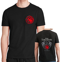 New Fashion 2017 Fire And Blood T Shirts Man The House Targaryen Printing Cotton Casual Game