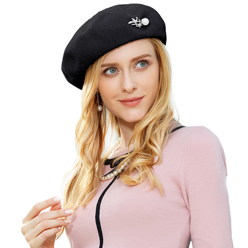 6312877f8d8d4 ... FS Elegant Pink Wool Beret Hat For Women Winter Warm Caps French Artist  Felt Hats Beanie ...