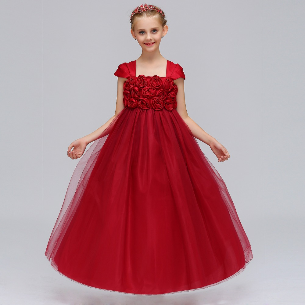 2018 New   Flower     Girl     Dress   With Bow Elegant   Flower   Princess Formal Gown For Wedding Party Red   Dresses