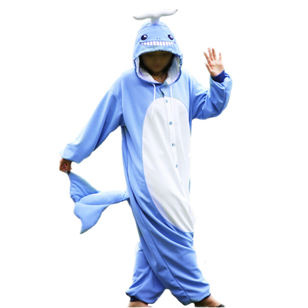 Cartoon Blue Whale Onesie Animal Pajamas Whole Novel Unisex Costume Cosplay Kawaii Nightgowns Women Sleepwear Long Sleeve Size