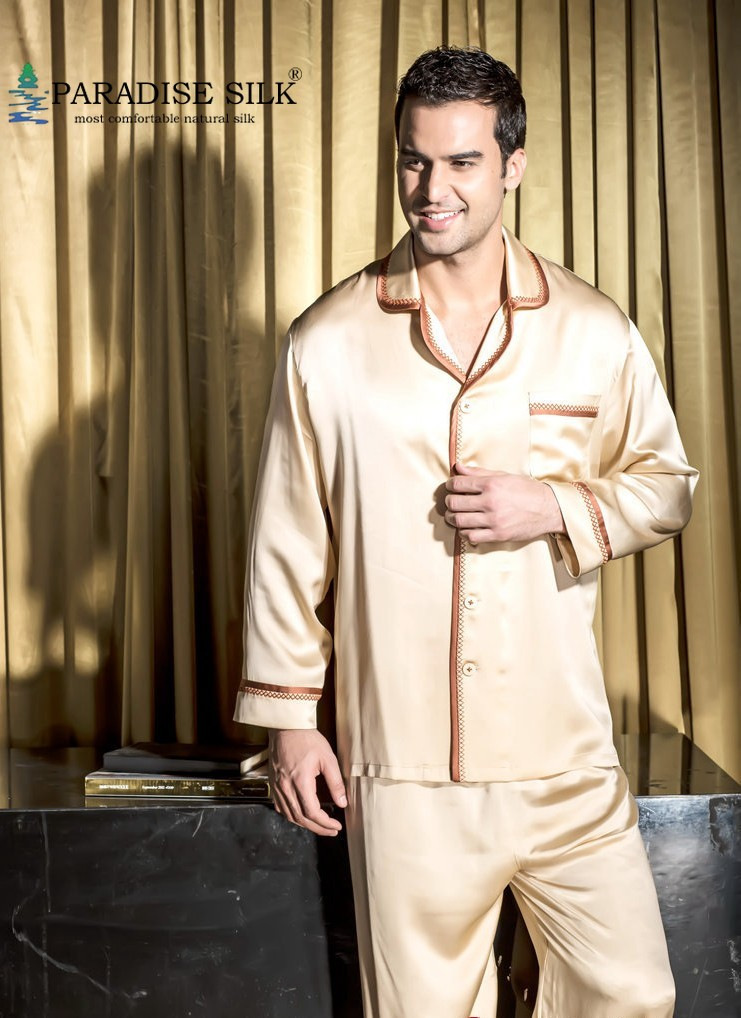 Men Pajama Sets 19MM 100% Silk Pajamas Set Top Bottom Set For Couples-Mens Size L XL XXL