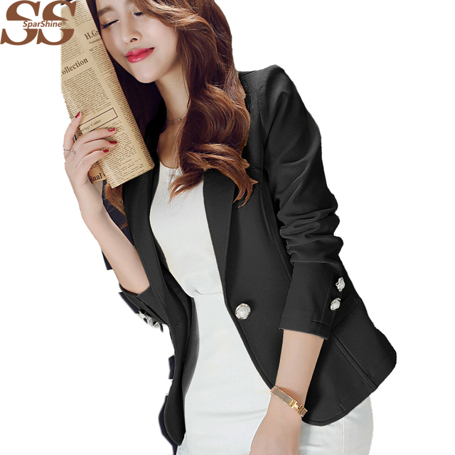 Solid Colors Slim Thin Jacket  Long Sleeves Button Suit  Lady  Blazer New Year